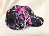 "White glitter vinyl ""Ridin' Dirty"" ATV/4 Wheeler design on purple/pink Muddy Girl Camo Baseball Cap"