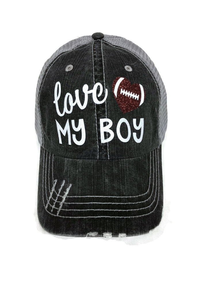 "Glitter vinyl ""Love my Football/Heart Boy"" Design on a Mesh Back Grey Trucker Cap"