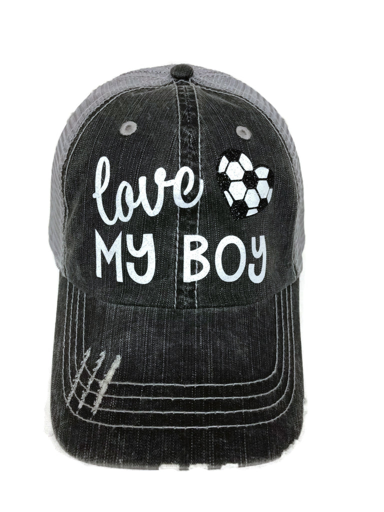 "Glitter vinyl ""Love my Soccer/Heart Boy"" Design on a Mesh Back Grey Trucker Cap"