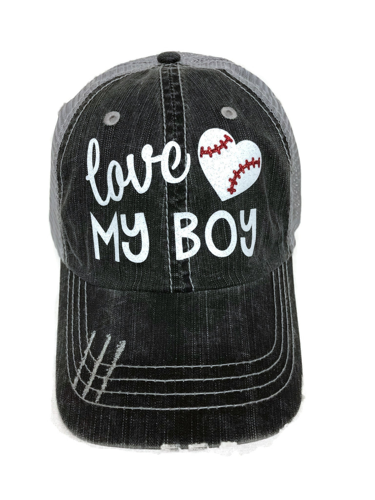 "Glitter vinyl ""Love my Baseball/Heart Boy"" Design on a Mesh Back Grey Trucker Cap"