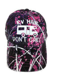 "White glitter vinyl ""RV Hair Don't Care"" Camper design on purple/pink Muddy Girl Camo Baseball Cap"