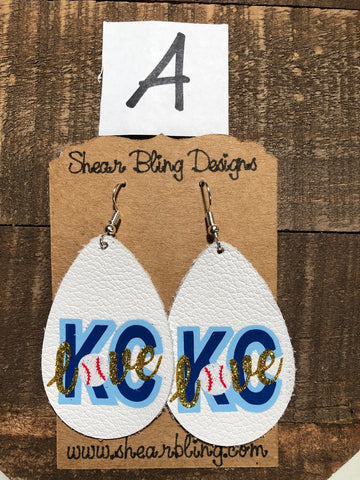 KC Leather Teardrop Earrings ( LETTER A )