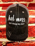 "White glitter vinyl "" hot mess...just doing my best  "" design on a mesh back distressed Grey Trucker Cap"