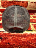"White glitter/red flat vinyl "" Firefighter Wife "" design on a mesh back distressed Grey Trucker Cap"