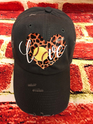"White/yellow glitter vinyl Softball "" love "" Leopard heart design on a distressed Dark Grey Baseball Cap"