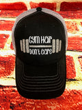 "White/Silver glitter vinyl "" Gym Hair Don't Care  "" design on a mesh back Black/Grey Trucker Cap"