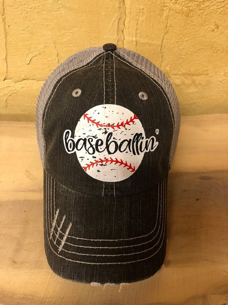 "Glitter/vinyl "" baseballin' "" design on a distressed mesh back Grey Trucker Cap"