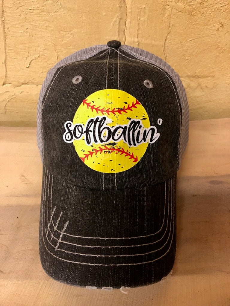 "Glitter/vinyl "" softballin' "" design on a distressed mesh back Grey Trucker Cap"