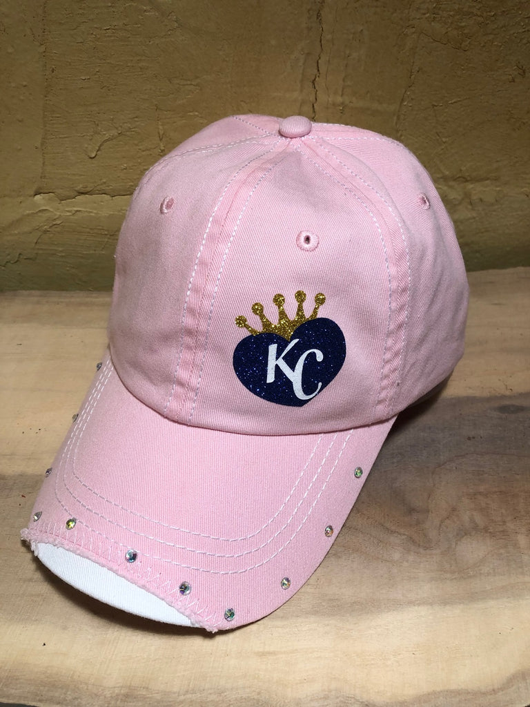 Blue glitter KC small heart design on a Light Pink Baseball Cap w/AB rhinestones ( #2 )