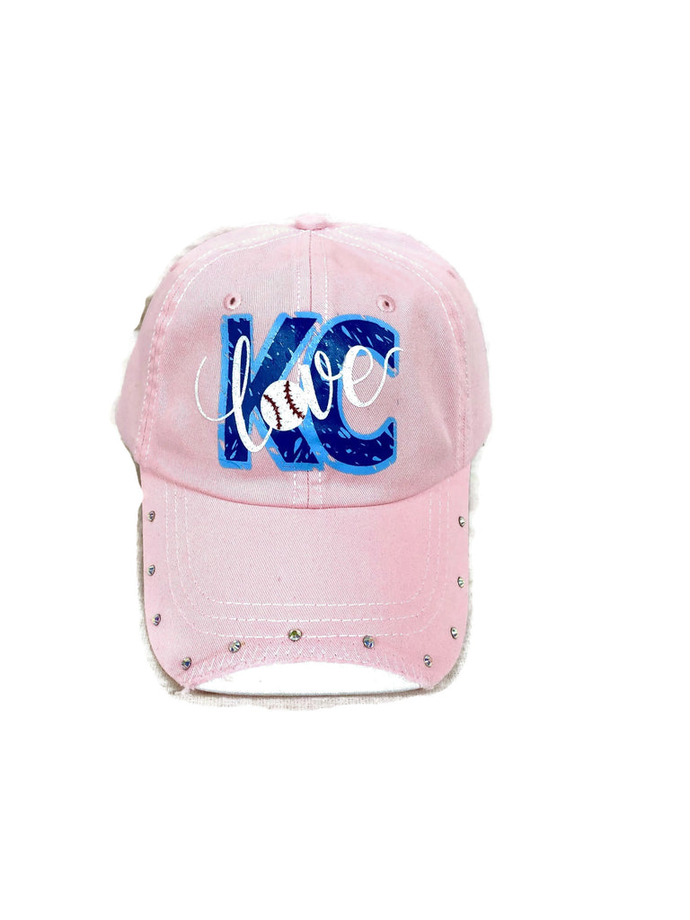 Distressed KC love design with AB rhinestones on a distressed Light Pink Baseball Cap ( #8 )