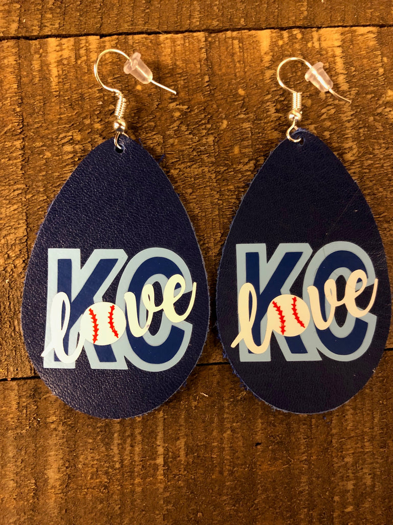 KC Leather Teardrop Earrings ( LETTER C )