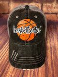 Basketballin' design on a Grey Distressed Mesh Back Trucker Cap Sports