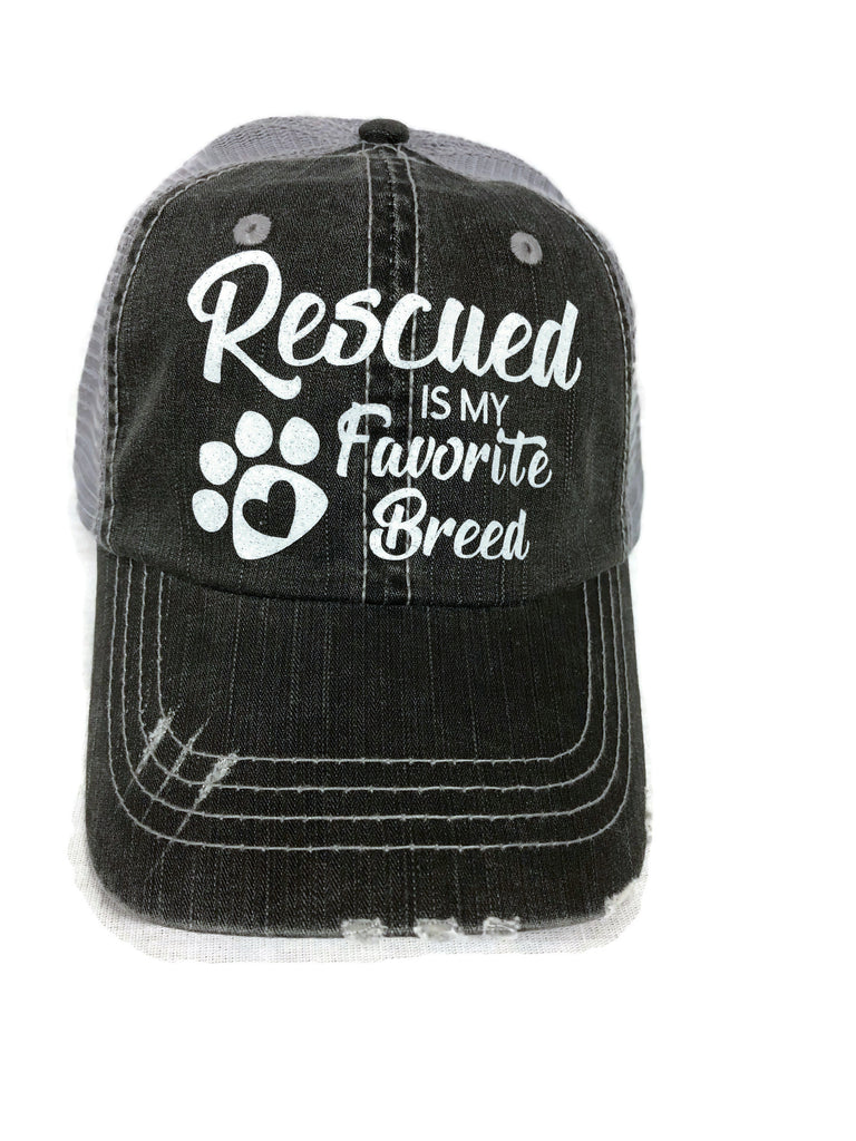 "White glitter "" Rescued Is My Favorite Breed "" design on a Grey Distressed Mesh Back Trucker Cap"