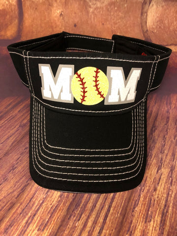 "Yellow Glitter Softball ""MOM"" design on a Black Sun Visor"