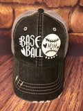 White glitter Baseball Mom Design on a mesh back Grey Trucker Cap