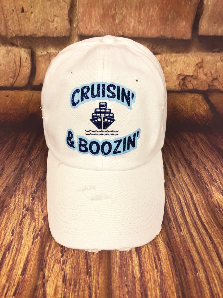 "Blue glitter/Light Blue "" Cruisin' & Boozin' "" Design on a White Baseball Cap"