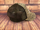 White glitter/Coral Lake Life design on a mesh back Brown Leopard Trucker Cap