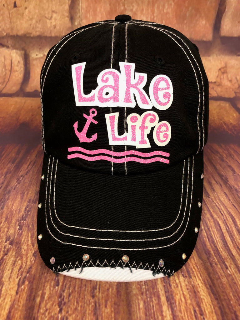 Neon Pink/White glitter Lake Life design on a Black Baseball Cap w/rhinestones