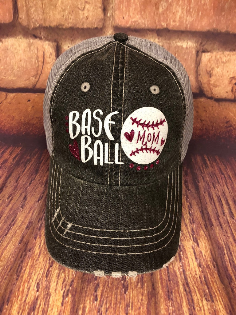 "Fuchsia and White glitter "" Baseball Mom "" design on a Distressed mesh back Grey Trucker Cap"