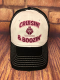 "Fuchisa glitter "" Cruisin' & Boozin' "" Design on a White and Black Baseball Cap"