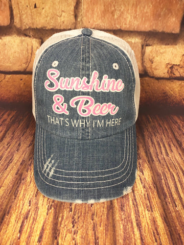 "Neon Pink/White glitter ""Sunshine & Beer That's Why I'm Here"" Design on a mesh back Denim/White Trucker Cap"