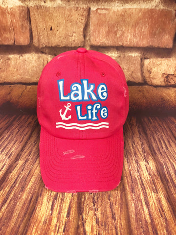 White/Blue glitter Lake Life design on a Distressed Hot Pink Baseball Cap