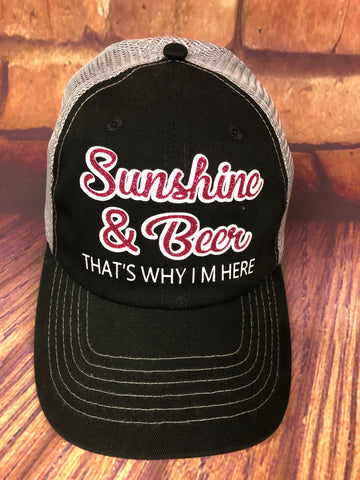 "Fuchsia/White glitter ""Sunshine & Wine Make Me Feel Fine"" Design on a mesh back Black/Grey Trucker Cap"