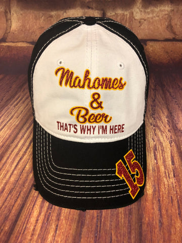 "Red/yellow glitter vinyl ""Mahomes & Beer That's Why I'm Here"" on White/Black Baseball Cap"