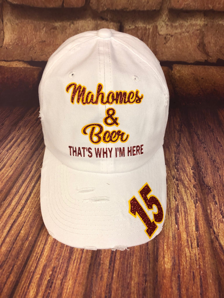 "Red/yellow glitter vinyl ""Mahomes & Beer That's Why I'm Here"" on Distressed White Baseball Cap"