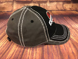 Black/White glitter Kansas City on Red and Black Plaid Heart on Distressed Black/Grey Baseball Cap