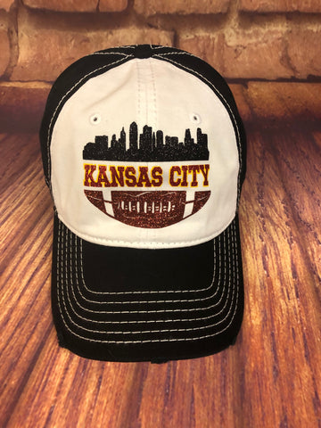 Glitter Kansas City Skyline/Football Design on a Distressed White/Black Baseball Cap