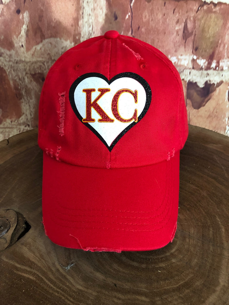 White/Red/Black glitter KC Heart on Distressed Red Baseball Cap