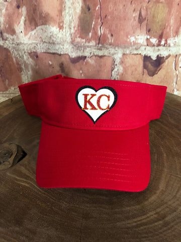 White/Red/Black glitter KC Heart on Red Sun Visor Sports