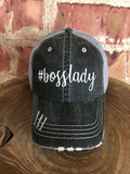 "White Glitter "" #bosslady "" design on Distressed Grey Trucker Cap"