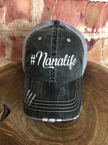 "White Glitter ""  #Nanalife "" design on Distressed Grey Trucker Cap"