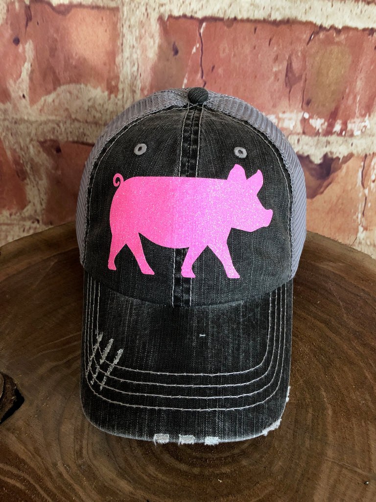 Neon Pink Glitter Pig design on Distressed Grey Trucker Cap