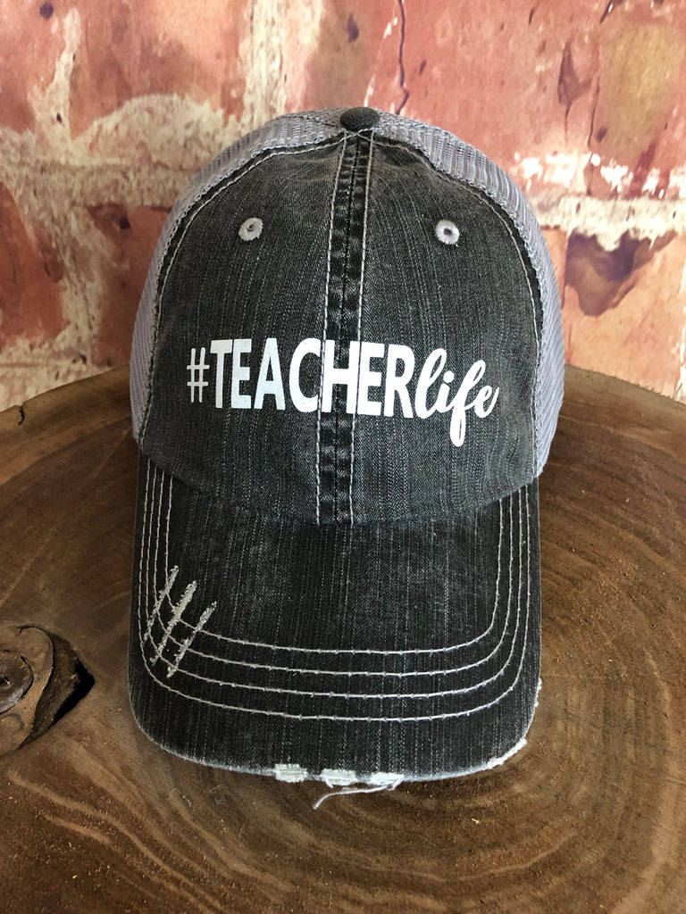 "White Glitter "" #Teacherlife "" design on Mesh Back Grey Trucker Cap"