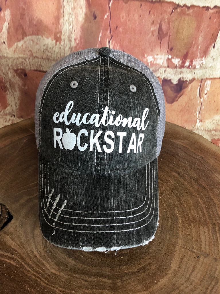 "White Glitter ""Educational Rockstar"" design on Mesh Back Grey Trucker Cap"