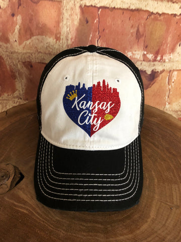 "Red/Blue/Gold glitter vinyl ""Kansas City"" Half and Half Skyline Heart on White/Black Baseball Cap"