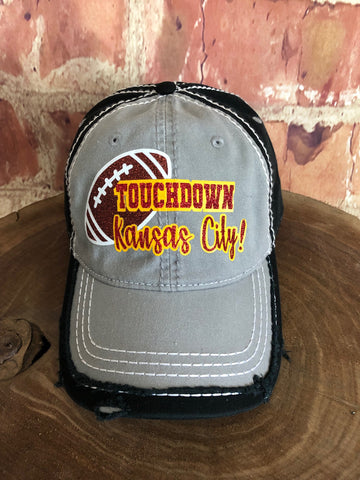 "Red/Brown glitter "" Touchdown Kansas City! "" Football on Distressed Grey/Black Baseball Cap"