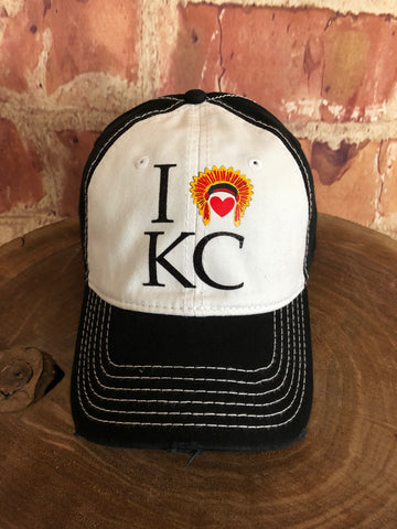 "Red/Black glitter ""I Love KC"" Heart/Headdress on White/Black Baseball Cap"