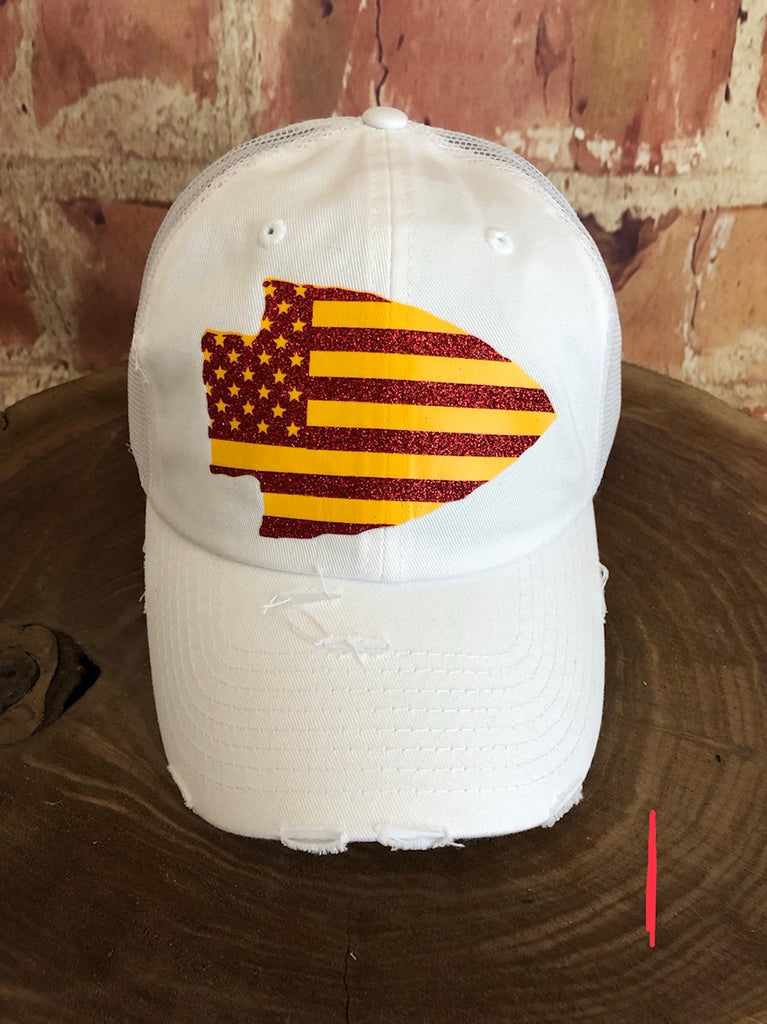 Red/yellow Stars/Stripes Arrowhead design on a White distressed Trucker Cap