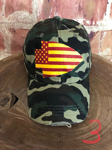 Red/yellow glitter vinyl Stars/Stripes Arrowhead on Distressed Green Camo Baseball Cap