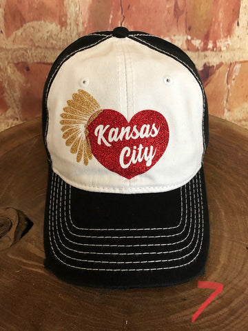 "Red/Gold glitter vinyl ""Kansas City"" Heart w/Headdress on White/Black Baseball Cap"