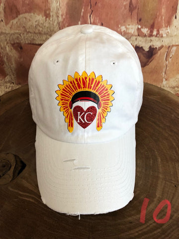 Red glitter vinyl KC Heart w/Headdress on Distressed White Baseball Cap
