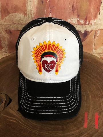 Red/Yellow glitter vinyl KC Heart w/Headdress on White/Black Baseball Cap
