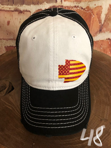 Red/yellow Stars/Stripes Small Arrowhead design on a Distressed White/Black Baseball Cap