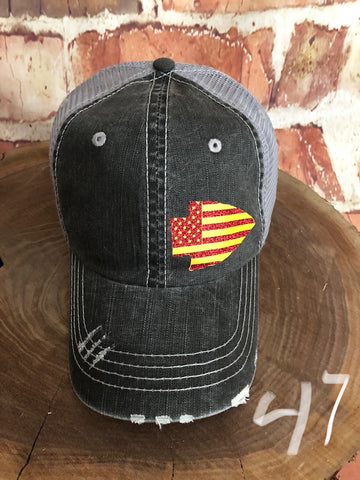 Red/yellow Stars/Stripes Small Arrowhead design on a Distressed Grey Trucker Cap