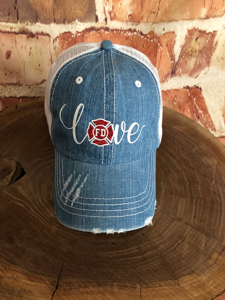White glitter vinyl Firefighter Love Design on Distressed look Mesh Back Denim/White Trucker Cap