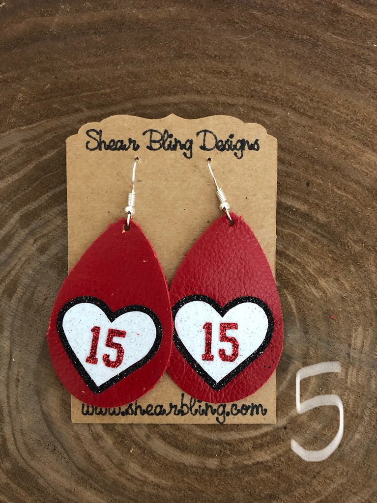 White/Red/Black Glitter 15 Heart on Large size Red Teardrop Leather Earrings Sports